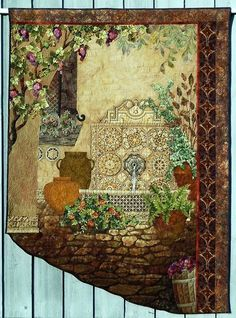 Beautiful landscape quilt - love the fountain!
