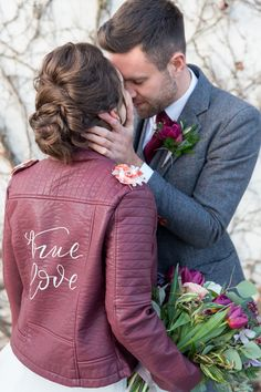 Burgundy leather jacket with True love calligraphy Burgundy Leather Jacket, Wedding Venues, Wedding Day, Romantic Images, Wedding Flowers, Wedding Dresses, Hand Designs, Bridal Hair, Wedding Planner