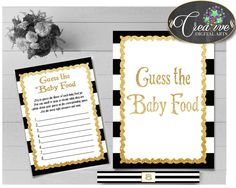 Glam Baby Shower Shower Black Stripes Food Tasting Shower Competition GUESS THE BABY Food, Pdf Jpg, Printable Files - bs001 #babyshowerparty #babyshowerinvites
