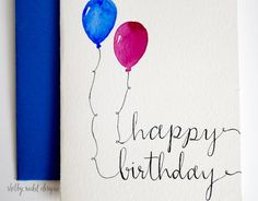 Watercolor Card Happy Birthday card Two by ShelbyNickelDesigns