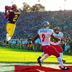 1998 Rose Bowl interception in end zone by Heisman Trophy winner Charles Woodson. Michigan National Champions. Go Blue!