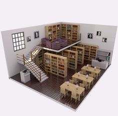 Biblioteca - Library LowPoly Feita no Blender 3D