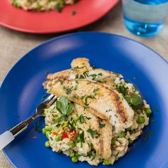 Pan-Fried Fish with Pea and Lemon Risotto