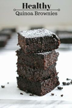 These healthy brownies are gluten-free, dairy-free, and are made from a quinoa base. They're soft and fudgy and descendant, and 100% healthy!