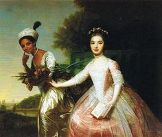 "Portrait of Dido Elizabeth Belle Lindsey smiling behind her cousin Elizabeth.  Belle was the daughter of a slave woman and a British Naval Captain.  After Belle's birth, Lindsey, an abolitionist, sent his daughter to live with an uncle.   She was to be raised alongside her white cousin, Elizabeth, as an equal, despite slavery still being legal in Britain.  Her story has now inspired the movie  ""Belle""."