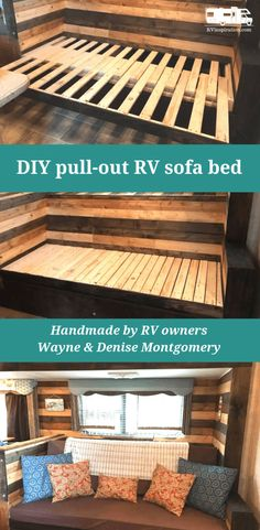 DIY Sofa Inspiration for Your RV Comfortable seating, sleeping space, and storage for your camper or motorhome. Diy Sofa, Rv Sofa Bed, Custom Wood Furniture, Diy Furniture, Furniture Logo, Camper Furniture, Furniture Cleaning, Plywood Furniture, Furniture Stores