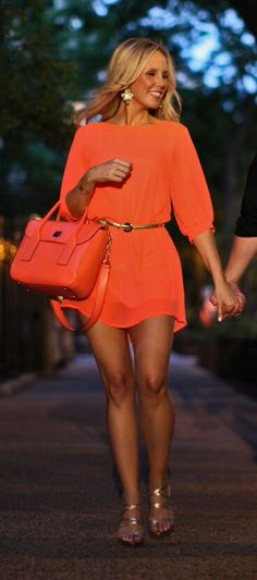 Orange shirt dress# summer outfit#♥