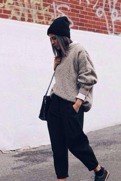 Black Beanie // Chunky Knit // White Shirt // Cropped Pants // Brogues
