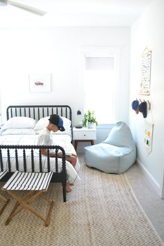 Boys room with white walls and black bed. Minimal and super cute! Boy Toddler Bedroom, Big Boy Bedrooms, Boys Bedroom Decor, Toddler Rooms, Baby Boy Rooms, Black Toddler Bed, Child Room, Boy Decor, Girl Rooms