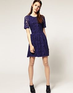 """ASOS Lace Dress with Full Skirt $80  ...I would LOVE this is it were another 6"""" longer in the skirt."""