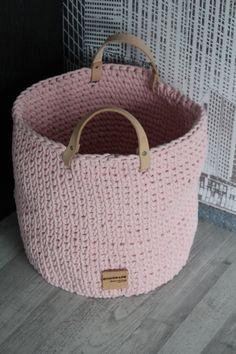 Koš velký s koženými uchy koš Crochet Toys, Straw Bag, Macrame, Creative, Bags, Fashion, Hampers, Handbags, Moda