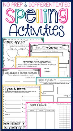 Spelling Activities for lists of 10 words, 15 words, 20 words & 25 words! Differentiated so it's NO PREP for you and FUN for students! Over 35 activities and more continue to be added. Spelling Centers, Spelling Practice, Spelling Words, Spelling Ideas, First Grade Activities, Word Work Activities, Spelling Activities, Learning Activities, Reading Intervention