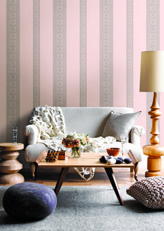 Pretty pink lace effect striped wallpaper design by Albany.