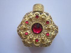 Beautiful Old Perfume Bottle with Gilt and Red Stones Europe | eBay