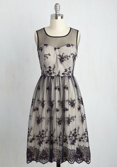 Adorned in this navy cocktail dress, you notice the admiring glances you're used to receiving turn to adoration! From its illusion neckline to its hem, this ModCloth-exclusive A-line is veiled in elegantly embroidered mesh, topping beige lining and creating a truly treasured look.