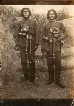 WWI; German soldiers specializing in grenade launching