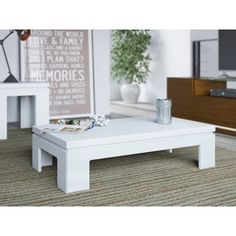 Manhattan Comfort Bridge Coffee Table Collection Modern Rectangle Living Room Coffee Table Wood Accent Table, L x W x H, White Gloss White Gloss Coffee Table, Side Coffee Table, Cool Coffee Tables, Modern Coffee Tables, White Coffee, Brown Coffee, Furniture Deals, Table Furniture, Living Room Furniture