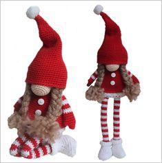 Kersttrollen - Tomte haken - haakpatroon - Amigurumi - crochet - Kerst Crochet Patterns Free Women, Crochet Purse Patterns, Crochet Patterns Amigurumi, Crochet Kids Scarf, Crochet Baby Cardigan, Crochet Christmas Hats, Knitting Needle Case, Beanie Pattern, Knitted Dolls