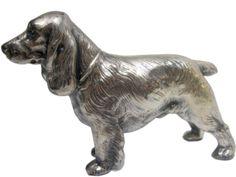 #JenningsBrothers Vintage #CockerSpaniel Nickel Plated Cast Metal Dog 1930s JB