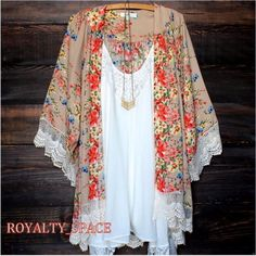NEW~$69~Taupe Silk Floral Butterfly Boho Kimono Duster Blouse Shirt Top~18/20/1X #scc #Tunic