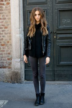 leather jacket- black - skinny jeans - boots