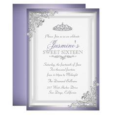 Purple Silver Damask Tiara Sweet 16 Invitation