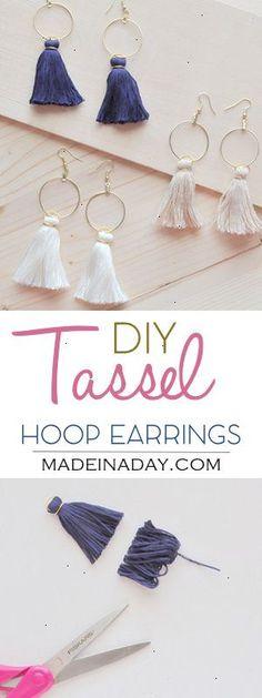 DIY Hoop Tassel Earrings Learn to make super trendy tassel earrings! Tassel hoops gold hoop Anthro hack tutorial on madeinaday.com