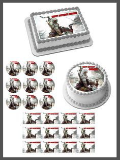 Assassin's Creed Edible Birthday Cake Topper OR Cupcake Topper, Decor - Edible Prints On Cake (Edible Cake &Cupcake Topper)