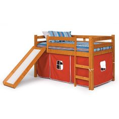 Create a fun sleeping space and play area with this twin-size tent loft bed with side from Donco Kids. This durable loft is made from natural wood that supports the twin-sized bed frame and slide. The