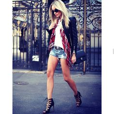 #streetstyle #streetfashion #styleinspo #inspo #inspiration #lookoftheday #outfit #outfitoftheday #denimshorts #legs #sexy #heels #leatherjacket #chanelflaptap #jumbobag #plaidscarf #hot #summerinspo