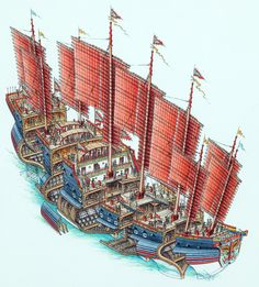 Stephen Biesty - Illustrator - Atmospheric Cutaways - Chinese Treasure Ship