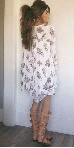 White floral dress and gladiator sandals. Spring and Summer Outfit trends for 2017. Perfect outfit inspiration for Stitch Fix. Add pin to your Stitch Fix style board. New to Stitch Fix? Click pin and Sign up now! :) #Sponsored
