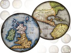 Antique vintage World maps 1 inch circles by Karisagraphic