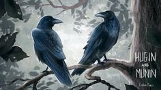 Illustration of Odin's two ravens Hugin and Munin (Thought and Memory), everyday they fly over the world to collect information for Odin. I've been reading Neil Gaiman's book Norse Mythology ^^ Viking Warrior, Viking Age, Hugin Munin Tattoo, Rabe Tattoo, Death God, Viking Culture, Earth Goddess, Old Norse, Norse Vikings