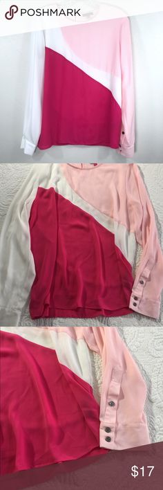 Large Vince Camuto Pink Color Block Sheer Blouse This blouse is in great preowned condition. Has two different shades of pink and white, color block. Sheer material. Size large Vince Camuto Tops Tees - Long Sleeve