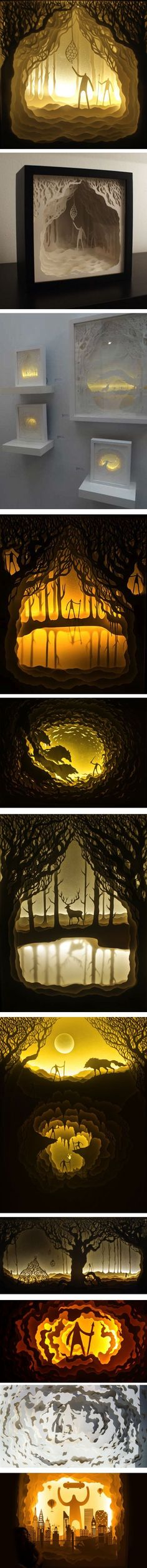 Harikrishnan Panicker and Deepti Nair create cut paper shadow boxes, illuminated with battery powered lights. -This is seriously the coolest.