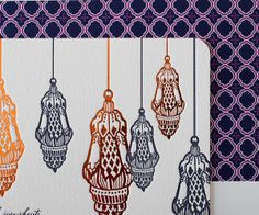 This dazzling letterpress design draws inspiration from the fine artistry of traditional Moroccan metal working.