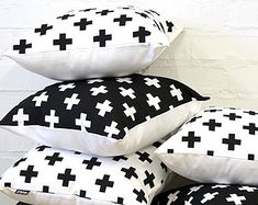 White Swiss Cross Throw Cushion Cover 18 x 18 inch