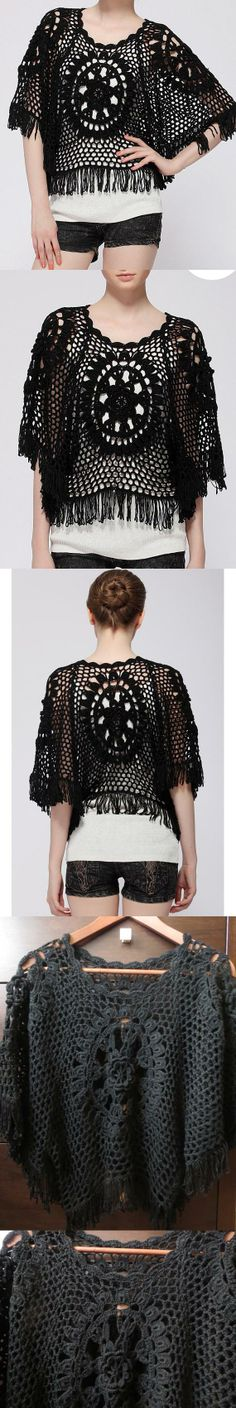 Handmade Crochet Lace Shawl Poncho Cape Blouse with Tassels Free Size Black Color