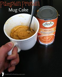 Pumpkin Protein Mug Cake.  Delicious and healthy dessert or breakfast.  Takes only 4-5 minutes from prep to eat!
