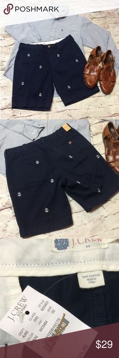 MEN'S SZ 32 J. CREW NAVY NAUTICAL STYLE SHORTS Brand new with tag. Navy blue shorts with a white embroidered anchor. Front and back trouser style pockets J. Crew Shorts