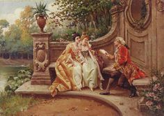 The love poem by Carlo Ferranti Romantic Paintings, Amazing Paintings, Decoupage, Victorian Paintings, Medieval, Rococo Style, Love Poems, Graphic Design Illustration, Victorian Era