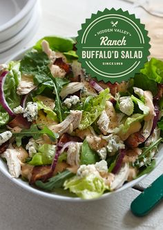 Your favorite buffalo chicken salad just got a ranch twist. Salad has never been so satisfying