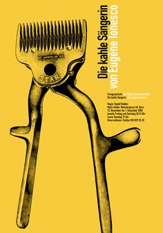 Poster for The Bald Soprano, by Eugène Ionesco, at Theatre of the Absurd, designed by Stephan Bundi, 2002