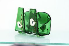 napkin holder, Valentine Eco friendly Fused Glass Melted recycled Beer Bottle