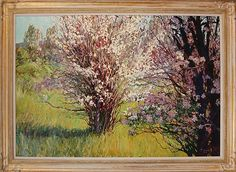 "Francis Donald (né 1947) ""Apple Trees in Blossom"" - 1983- framed oil on canvas titled ""Apple Trees in Full Blossom"" by a listed New Mexico artist depicting an Impressionistic apple tree pair in a sunny field. Signed and dated lower right, also signed and titled on canvas verso. Sight area measures approximately 41.5"" x 61.5"" and frame 51"" x 70"" x 2""."