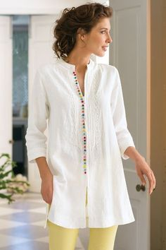 """Our Desert Tunic is globetrotting chic at it's finest! Lightweight linen makes this style perfect for summer heat waves. """"Desert Tunic from Soft Surroundin"""