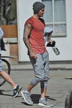 David Beckham wearing Adidas Nmd R1 in Charcoal/Grey
