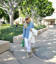 Anna of Fash Boulevard rockin' our Color Block Bag | #Spring2013 #green