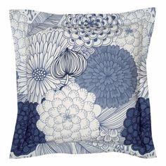Taie d'oreiller percale de coton imprimé fleurs Mira